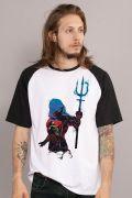 Camiseta Raglan Masculina Aquaman Silhouette