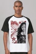 Camiseta Raglan Masculina Liga da Justiça Mulher Maravilha