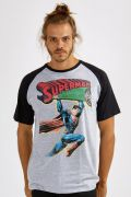 Camiseta Raglan Masculina Superman 80 Anos Action Comics Nº 1