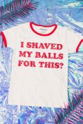 Camiseta Ringer Feminina Birds of Prey I Shaved My Balls for This? - Aves de Rapina