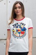 Camiseta Ringer Feminina DC Comics Woman Power