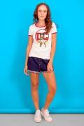 Camiseta Ringer Feminina Logo DC Mulher Maravilha