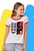 Camiseta Ringer Feminina Mulher Maravilha 80 Anos Pose