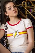 Camiseta Ringer Feminina The Flash Stripes