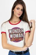 Camiseta Ringer Feminina Mulher Maravilha Vintage