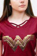 Camiseta Feminina Mulher Maravilha Logo Gold