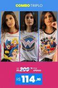 Combo 3 Camisetas Femininas Heroínas BF