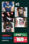 Combo 5 Camisetas Femininas Personagens BF