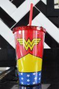 Copo com Tampa e Canudo Wonder Woman Clothes