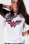 Camiseta Raglan Feminina Wonder Woman Logo Fashion