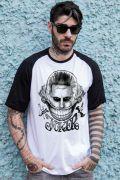 Camiseta Raglan Masculina Esquadrão Suicida Coringa Damaged