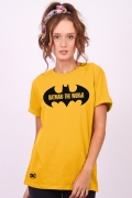 T-shirt Feminina Batman O Mundo Logo