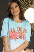 T-Shirt Feminina Mulher Maravilha Flores