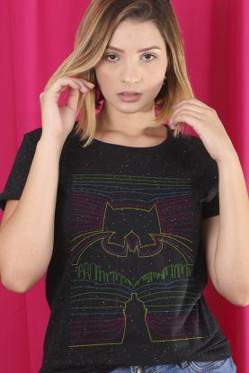 Camiseta Feminina Batman Linhas Neon