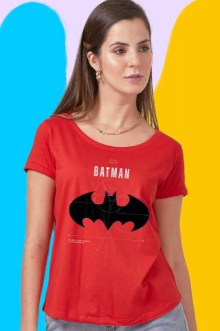 Camiseta Feminina Batman Logo Dimensões
