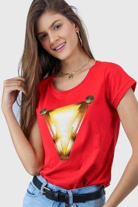 Camiseta Feminina Shazam Logo Movie