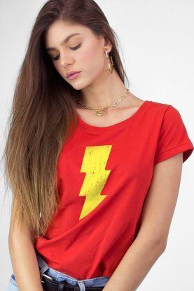 Camiseta Feminina Shazam Raio