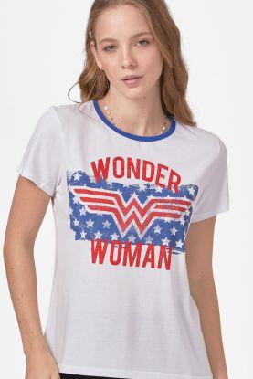 Camiseta Feminina Mulher Maravilha Flag Stars