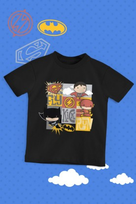 Camiseta Infantil Batman, Superman e The Flash