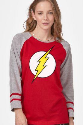 Camiseta Manga Longa Feminina The Flash Logo