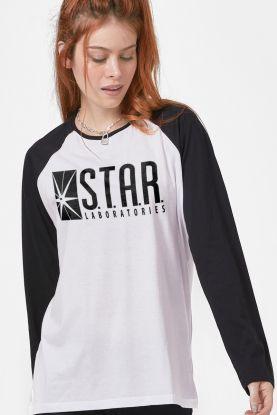 Camiseta Manga Longa Feminina The Flash Série Star Laboratories