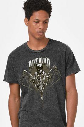 Camiseta Masculina Marmorizada Batman Morcego Caveira