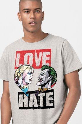 Camiseta Masculina Coringa e Harley Quinn Love and Hate