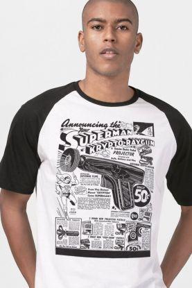 Camiseta Raglan Masculina Superman Krypto-Raygun