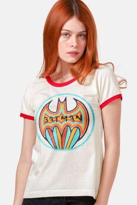 Camiseta Ringer Feminina Batman Colorful