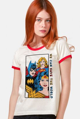 Camiseta Ringer Feminina Mulher Maravilha We Can Save the World