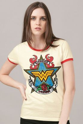 Camiseta Ringer Feminina Mulher Maravilha Old School