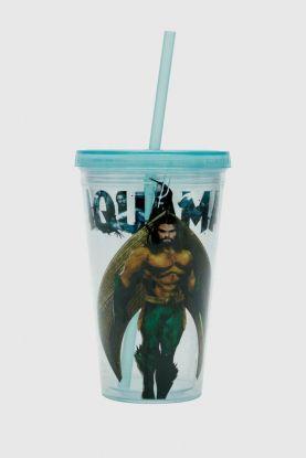 Copo com Tampa e Canudo Aquaman Movie Character