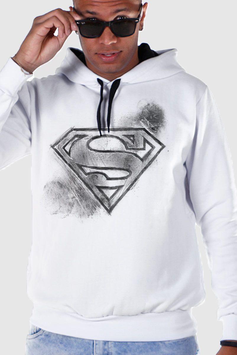 Moletom Com Capuz Preto Superman Logo Tracing