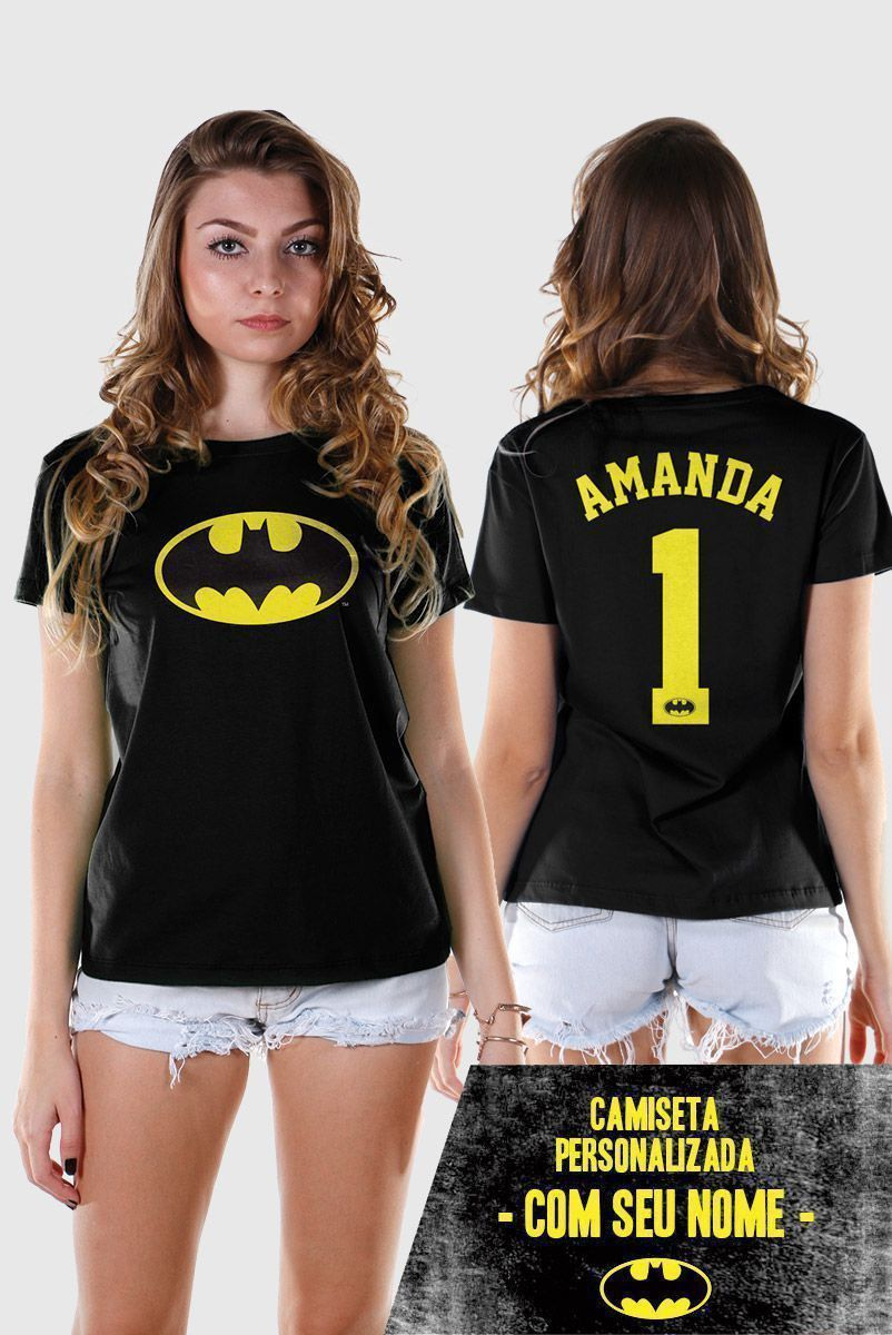 Camiseta Feminina Batman Logo Name