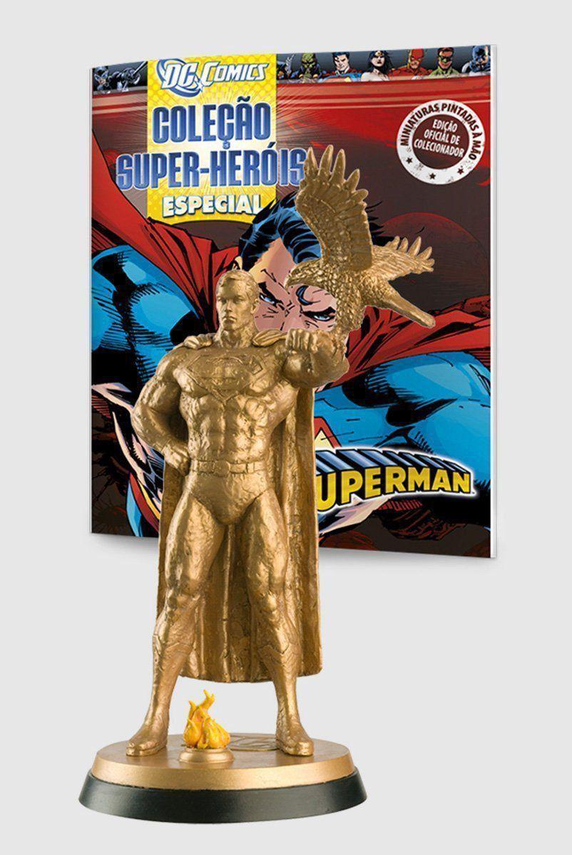 Boneco Miniatura Especial Superman Gold + Revista