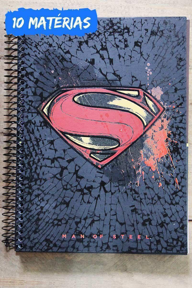 Caderno Superman Logo Crack 10 Matérias