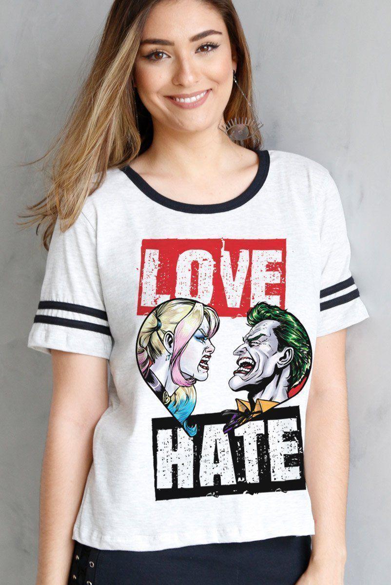Camiseta Athletic Feminina Coringa e Harley Quinn Love and Hate