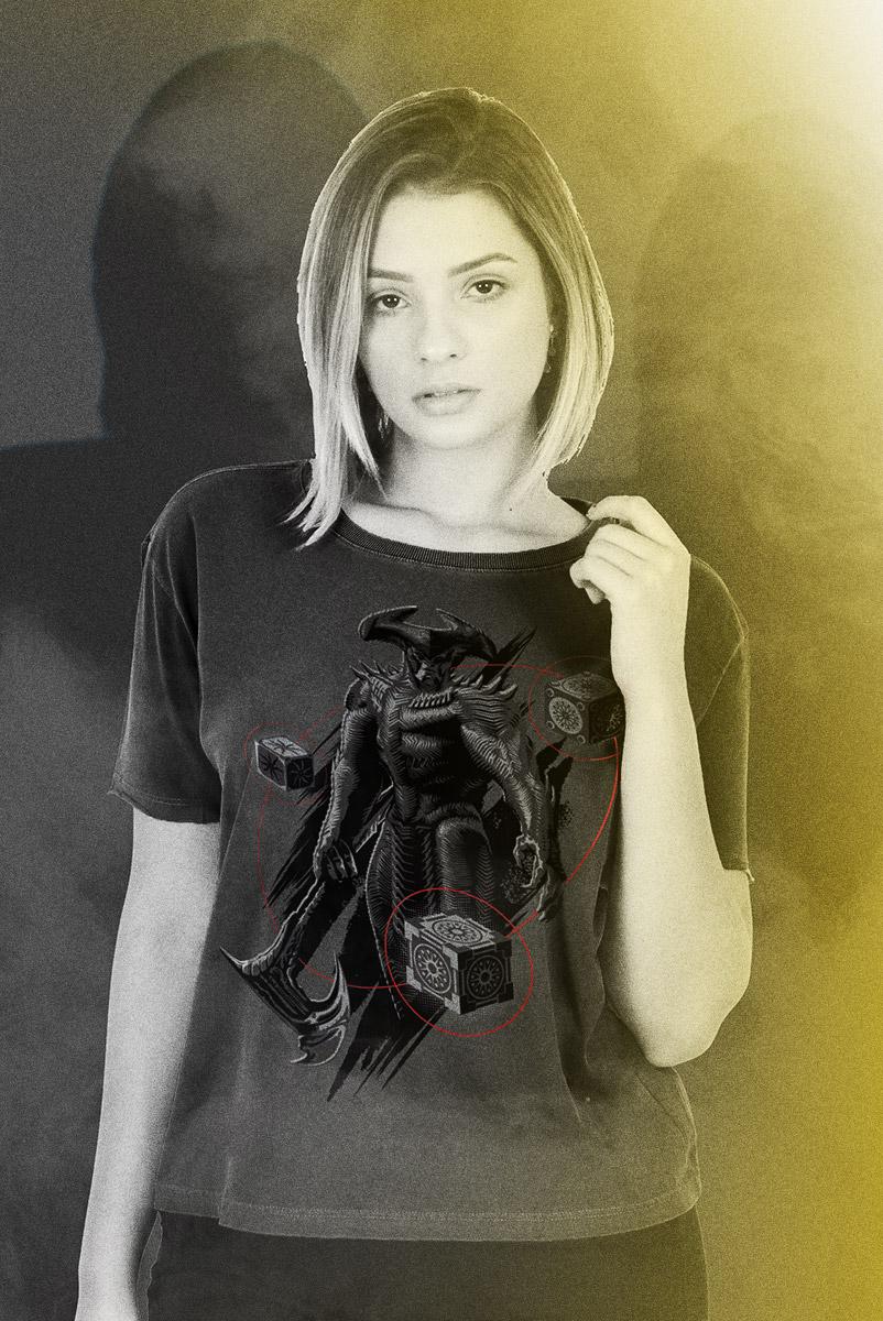 Camiseta Box Feminina Liga da Justiça Snyder Cut - Steppenwolf Pose