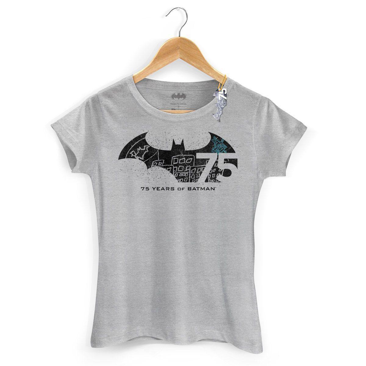 Camiseta Feminina Batman 75 Anos Logo 2