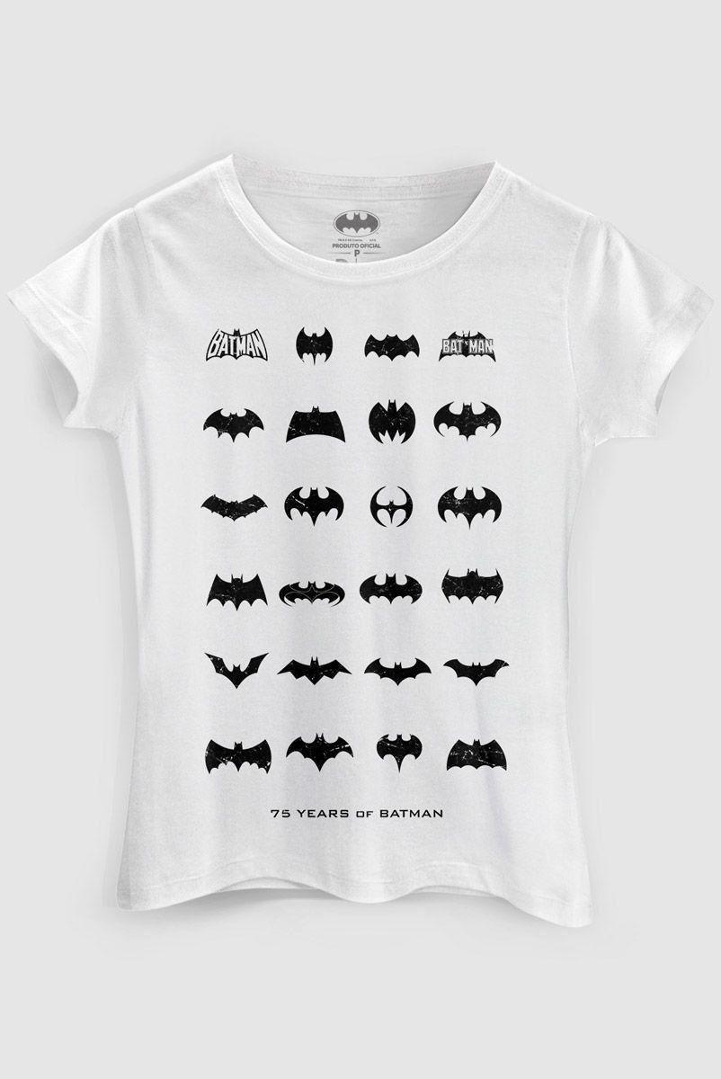 Camiseta Feminina Batman 75 Anos Logo Collection White