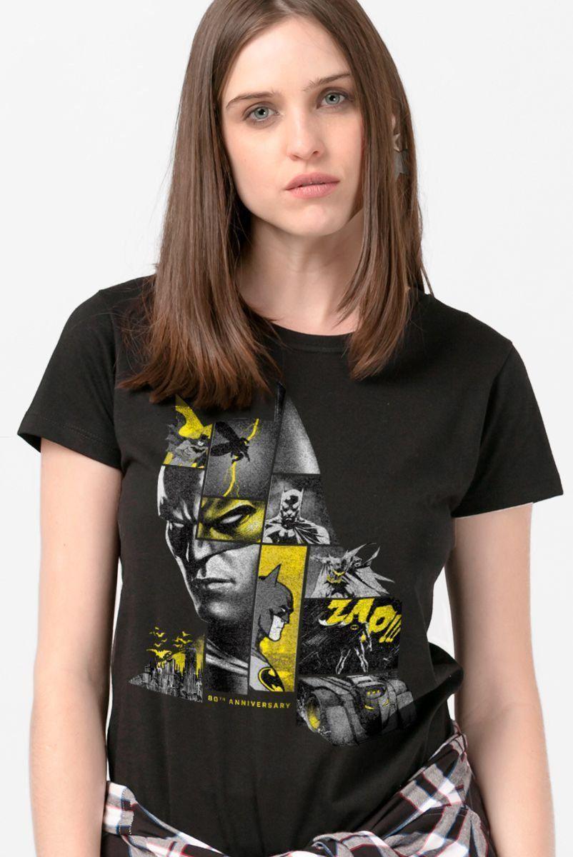 Camiseta Feminina Batman 80 Anos As Faces de Batman Black