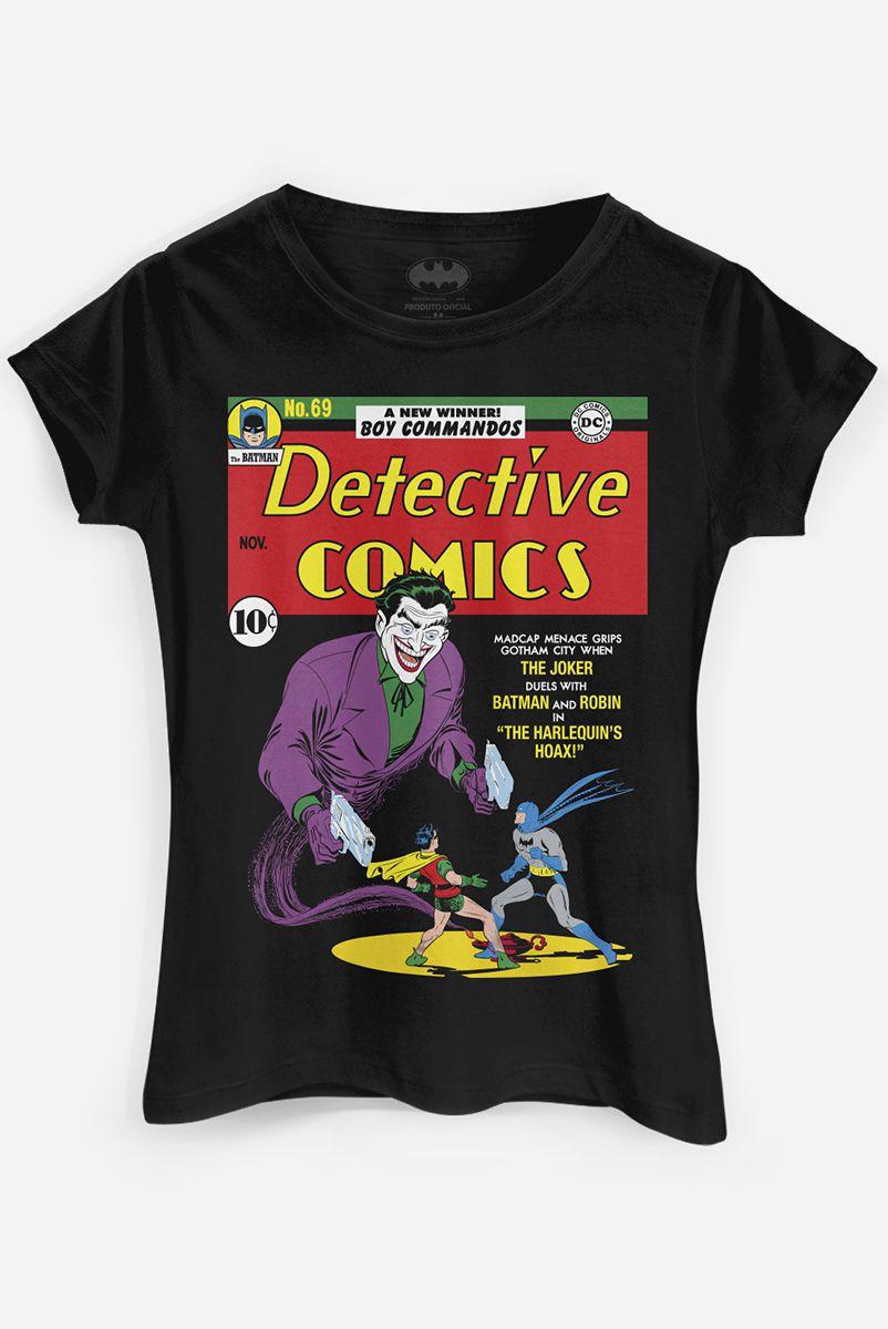 Camiseta Feminina Batman Capa HQ Coringa - Detective Comics N. 69