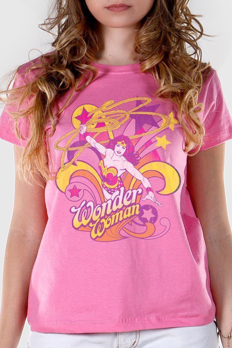 Camiseta Feminina Mulher Maravilha In Action