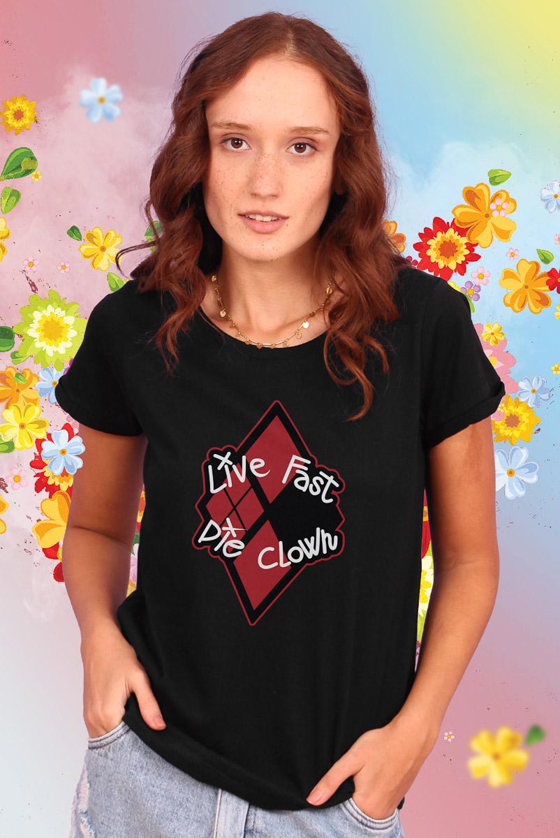 Camiseta Feminina Esquadrão Suicida Live Fast Die Clown