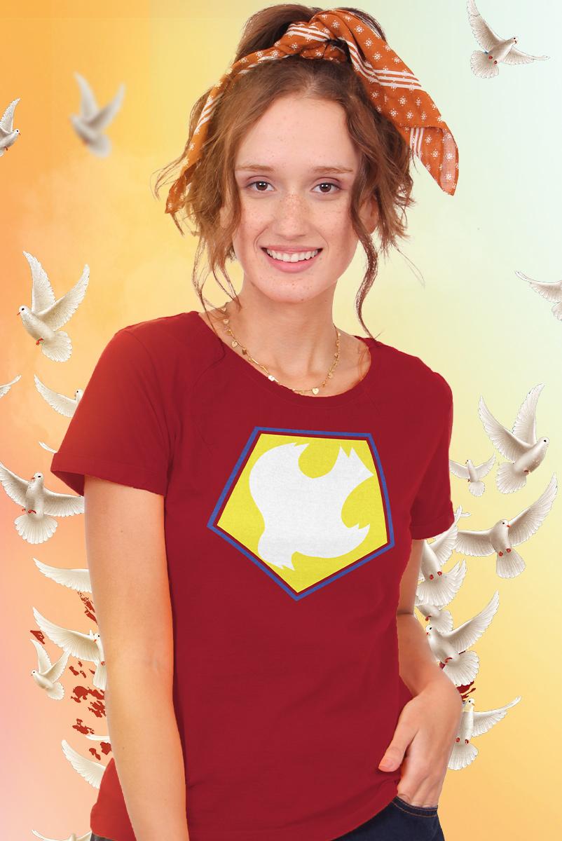 Camiseta Feminina Esquadrão Suicida Peacemaker Logo