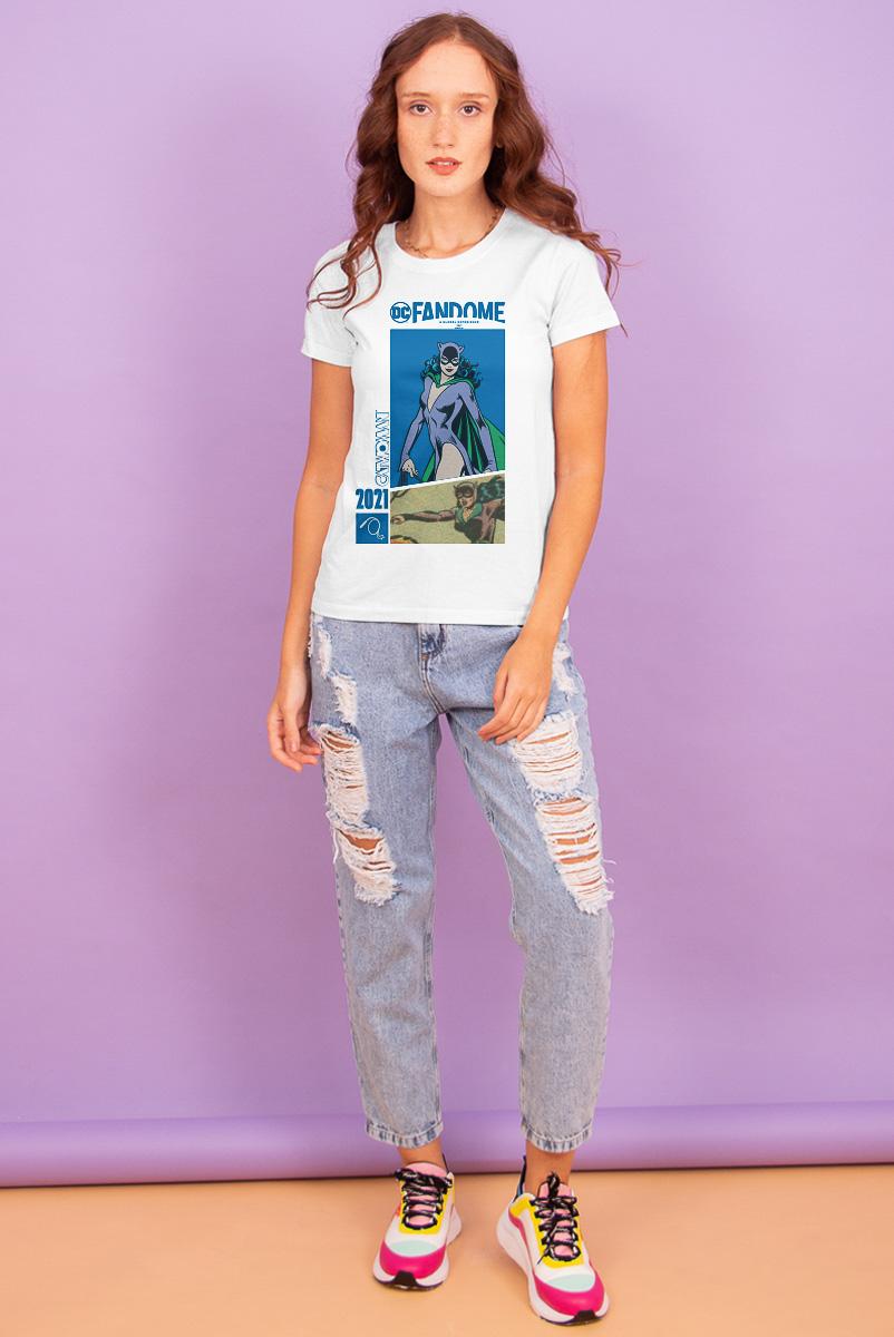 Camiseta Feminina FanDome 2021 Mulher-Gato Em Ação