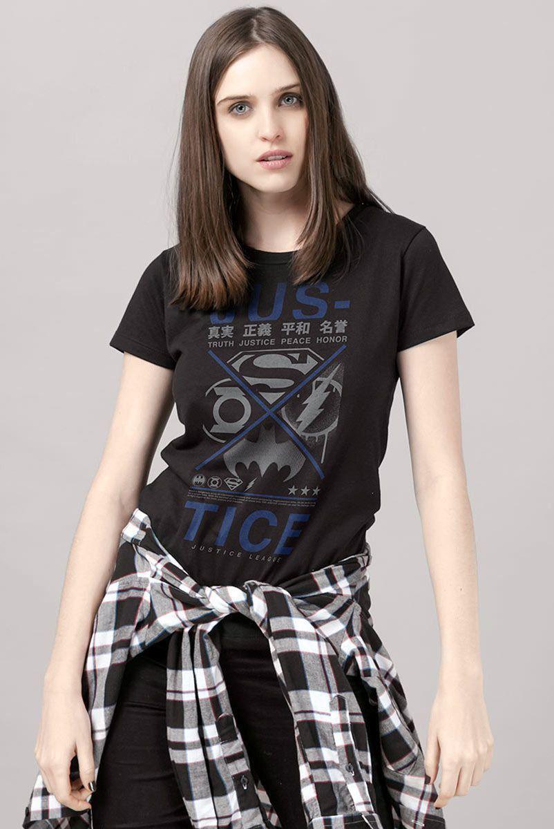 Camiseta Feminina Liga da Justiça Justice Japanese