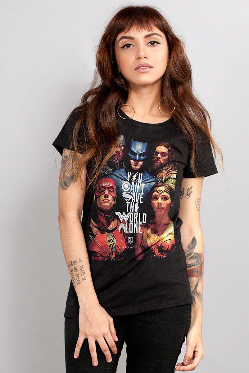 Camiseta Feminina Liga da Justiça Poster