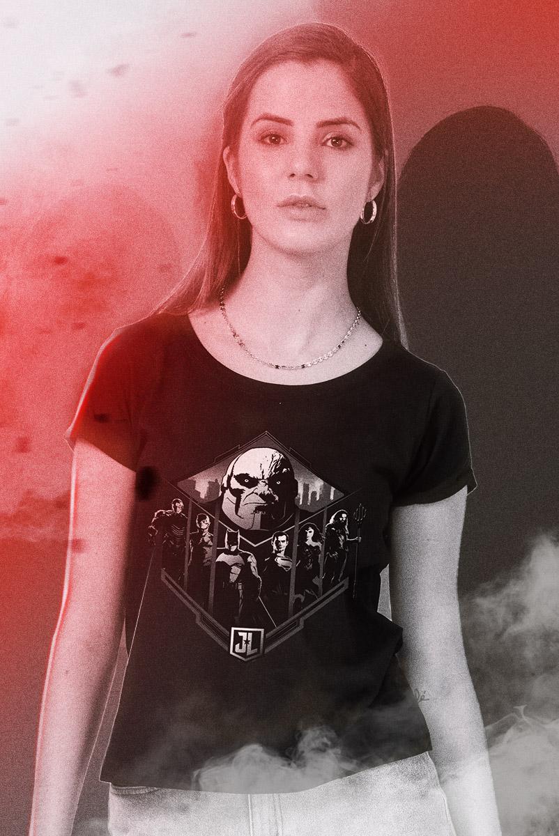 Camiseta Feminina Liga da Justiça Snyder Cut - Darkseid vs League
