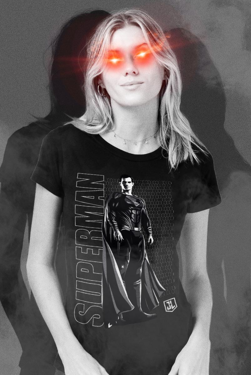 Camiseta Feminina Liga da Justiça Snyder Cut - Superman Uniforme Preto